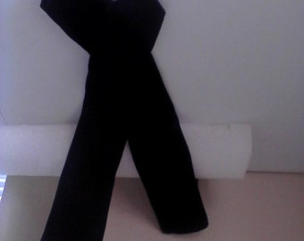 2 stretch black velvet fingerless gloves, (long)