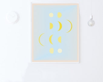 Moon Phases Wall Print-Nursery Printable-INSTANT DOWNLOAD-Blue Wall Art-Kids Room Decor-Nursery Decor Print-Moon Phases Decor-Nursery Art