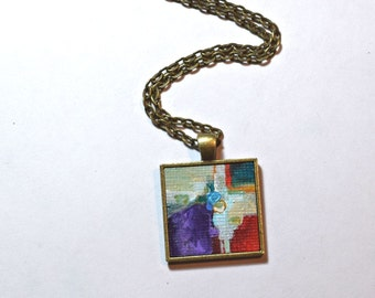 Art Necklace ~ Original Painting Pendant - Wearable Art - Red and Purple Modern Abstract Necklace - Handpainted Pendant