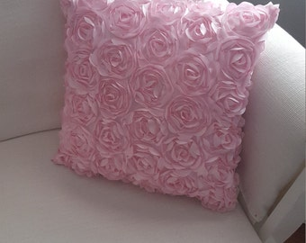 12 inch Pillow: embellished fancy frilly pink flower girly fabric