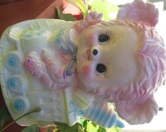 Vintage Baby Planter- Pink bear Ruben Napco Pelpo Japan 1950's