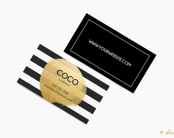 Custom Business Card Design- Printable Business Card- Black and White Stripe with Gold Foil Paint Dot