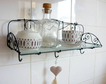 Metal glass iron wire patinated shelf, ornamental cottage rustic shelf, Art Nouveau shelf, kitchen bathroom shelf, metal iron furniture