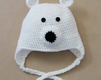 Crochet polar bear hat. All sizes and different styles available!
