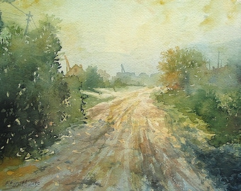 Old Village Road, Serbian Village, Village Landscape, Countryside Landscape, Balkan Village (Print)