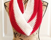 Red and White Crochet Infinity Scarf - Detroit Red Wings, Cincinnati Reds, Liverpool FC, Temple Owls, St. Louis Cardinals, Boston Red Sox