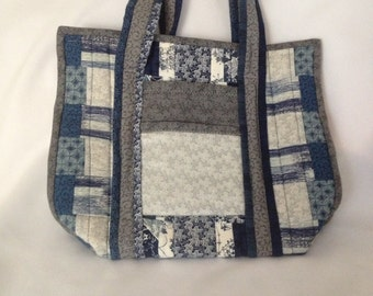 Blue and Gray Quilted Tote or Handbag