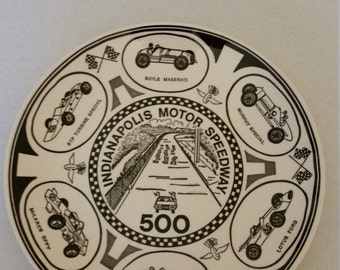 "vintage 1960 era - rare ceramic 10"" collector plate - indy 500 racing indianapolis speedway - enco national - american ironstone nascar"