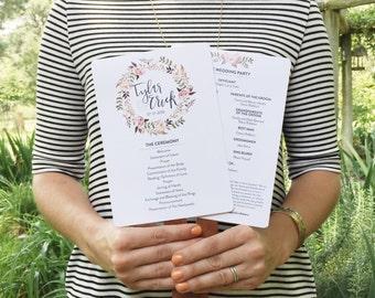 Peony Floral Modern Calligraphy Wedding Program Fan