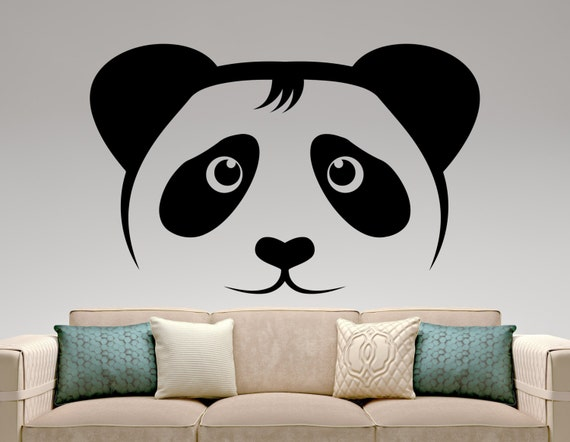 Panda wall decal bear sticker animal decals home decor wall for Panda bear decor