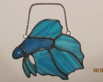 Blue Beta Fish Suncatcher