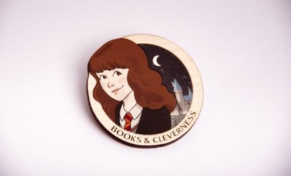 Laser Cut Hermione Granger Wood Cut Brooch