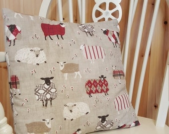 Wooly Sheep Hand-made Cushion Cover