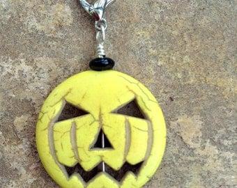 Zipper Pull - Halloween Pumpkin, Jack-O-Lantern in Yellow