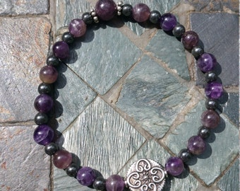 Strength, Protection, and Elegance - Amethyst and Hematite Gemstone and Silver tone Beaded Bracelet