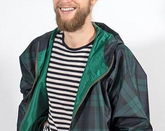 Green checkered oversize jacket