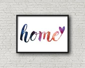 Home Print, Housewarming Gift, Home Sweet Home, Art Prints, Typography Poster, Gift For Her, Living Room Decor, Fine Art Print, Purple Art