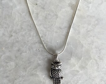 Sterling silver owl pendant necklace, owl necklace, owl charm, silver owl, silver necklace, silver owl charm, cute little owl (CH05)
