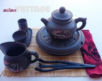 Vintage Chinese Tea Set Pottery 25 utensils