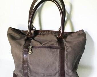 Tote bag - Hazel tote bag - Brown tweed tote bag leather handles - Top handle brown tweed bag - Tweed Fabric tote