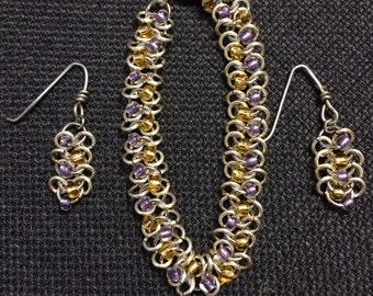 Beaded Centipede Bracelet W/ Earrings (Choose your Colors)