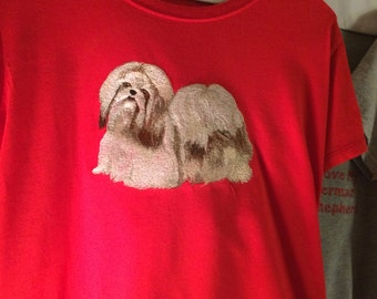Shih Tzu ladies embroidered tee. Size Med