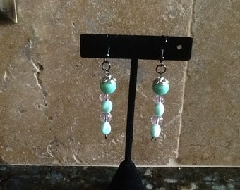 Mint and Pink Earrings