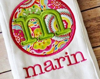 1 Personalized Embroidered Burp Cloth
