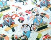 Sushi Cats Fabric, Rockin' Rolls Tea, Sushi Rolls, Cat Fabric, Novelty, Funny, Whimsical, Alexander Henry, by the yard, half yard