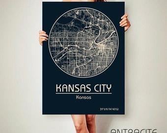 KANSAS CITY Kansas CANVAS Map Kansas City Kansas Poster City Map Kansas City Kansas Art Print Kansas City Kansas poster Kansas City
