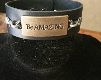 Be Amazing Leather Bracelet