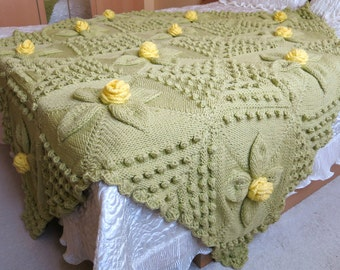 Large hand knitted green afghan blanket, bed cover, throw