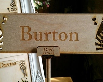 Personalised table names/numbers with stands