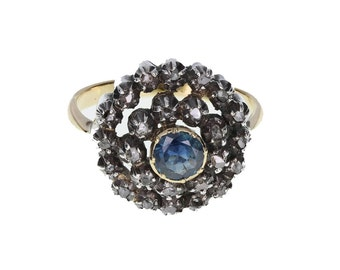 Antique Sapphire and Diamond Double Row Cluster Ring