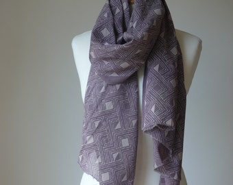 soft logwood purple scarf, hand dyed and hand printed 100% cotton