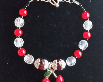 Beaded cherries Bracelet.