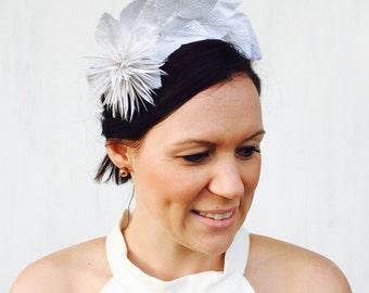 JESSICA - white leaf crown / fascinator