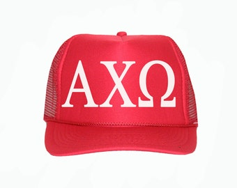 Alpha Chi Omega Trucker Hat, AXO Trucker Hat, Greek Letter Glitter Trucker Hat, Sorority Letter Cap, Greek Trucker, Sorority Trucker hat
