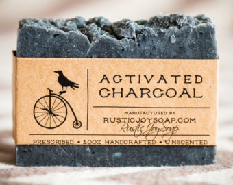 Activated Charcoal Soap - Rustic Soap,All Natural Soap,Homemade Soap,Acne soap,Charcoal soap,facial soap,detox soap, activated charcoal soap