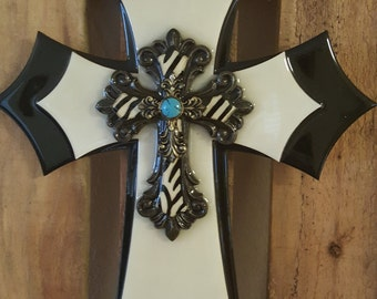 Black and White Wooden Wall Cross