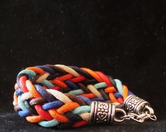 Multistrand and Multicolor Braided Bracelet with Antique Silver End Caps