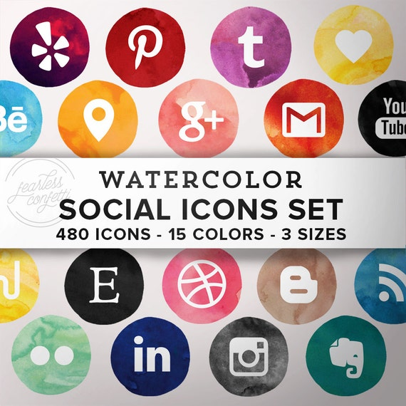 Icônes Réseaux Sociaux AQUARELLE | Kit Complet Icônes Aquarelle | 480 Fichiers PNG | 15 couleurs 3 formats | Téléchargement Direct