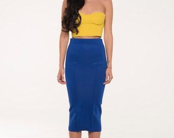 High Waisted Blue Pencil Skirt, Blue Hobble Skirt, Stretch Pencil Skirt, Blue Bodycon Skirt, Neoprene Skirt, Pencil Skirt Outfits