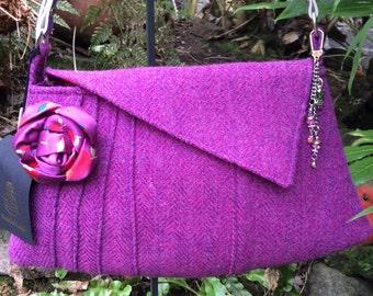 Heather Pink and Purple 1930's style Harris Tweed Bag