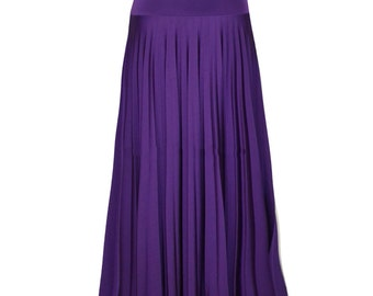 PURPLE Flare Jersey Pleated Maxi Skirt | Modest Long Skirt | Islamic Clothing S M L XL 2XL 3XL