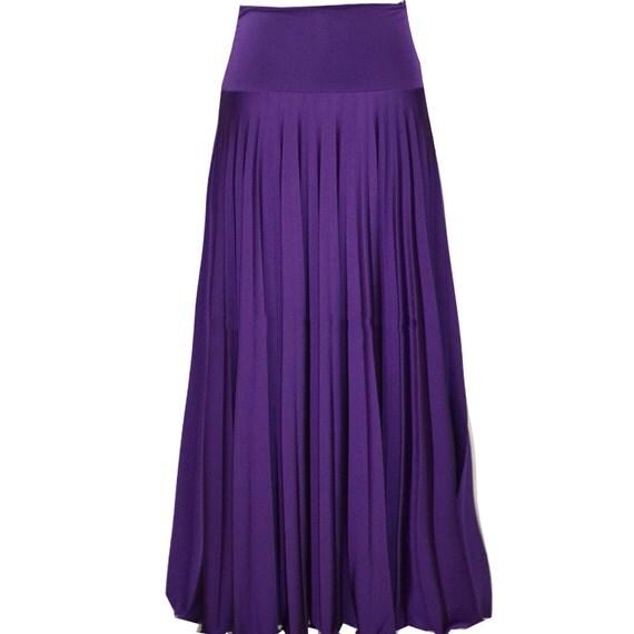 purple flare jersey pleated maxi skirt modest skirt