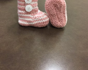 Pink and White booties
