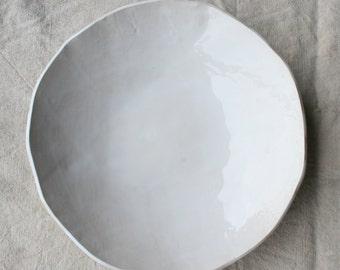 Large Summer White Serving Bowl,  Pottery, Gloss White Glaze, Handmade Ceramic Bowl