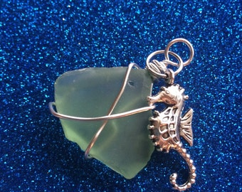 Green Wire wrapped Seaglass and Seahorse Pendant