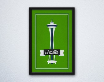Seattle Needle Poster - Seahawks Colors